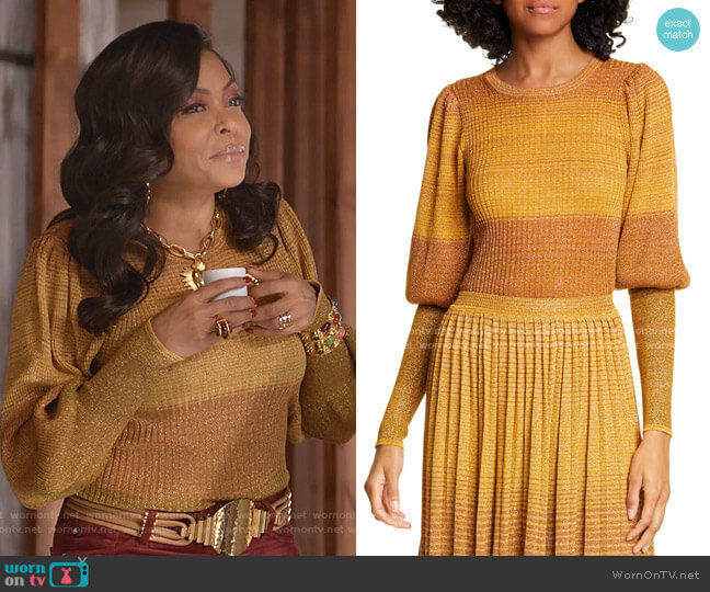 Dax Metallic Stripe Sweater by Ulla Johnson  worn by Cookie Lyon (Taraji P. Henson) on Empire