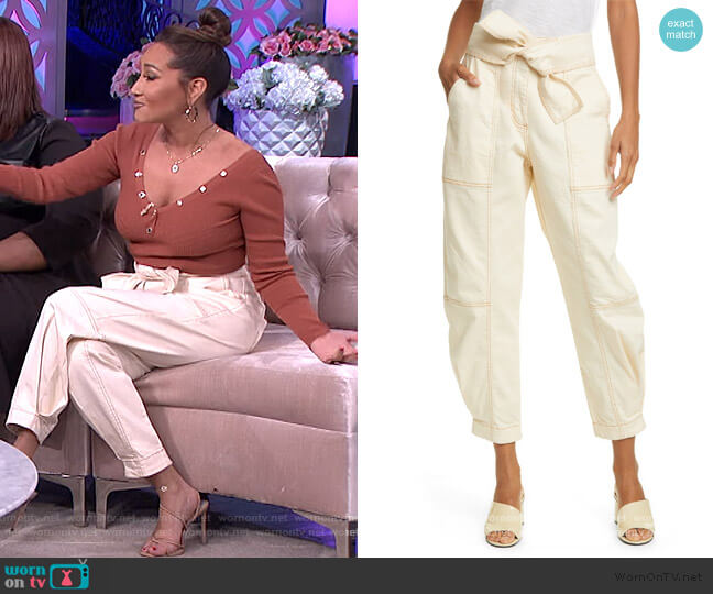 Storm Tie Waist Tapered Jeans by Ulla Johnson worn by Adrienne Houghton  on The Real