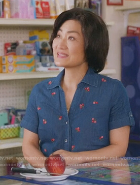 Uma's floral denim blouse on Kims Convenience