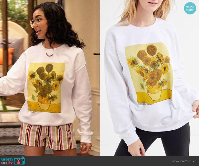 Urban Outfitters Van Gogh Sunflowers Crew-Neck Pullover Sweatshirt worn by Ashley Garcia (Paulina Chávez) on The Expanding Universe of Ashley Garcia