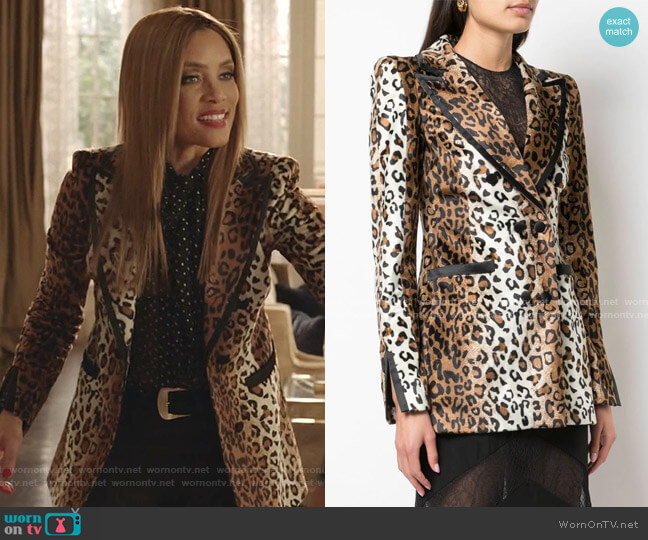 Jessica Leopard Print Blazer by Valentina Shah worn by Dominique Deveraux (Michael Michele) on Dynasty