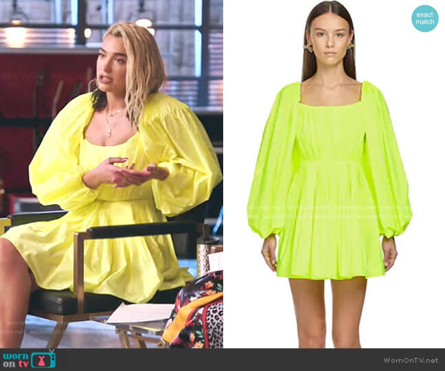 Puff-Sleeve Shoulder Dress by Valentino worn by Dua Lipa on The Voice