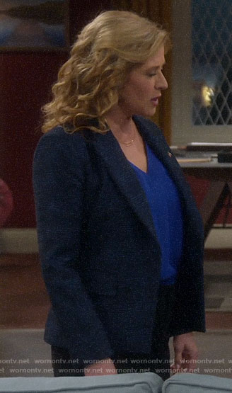 Vanessa's blue plaid blazer on Last Man Standing