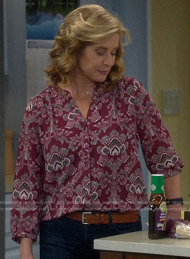 Vanessa's burgundy floral blouse on Last Man Standing