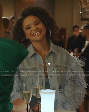 Vanessa's feather-trim cropped denim jacket on Dynasty