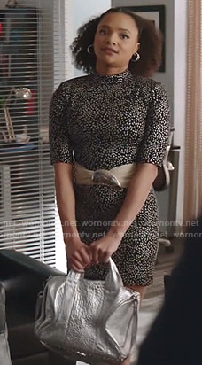 Vanessa's metallic polka dot mini dress on Dynasty