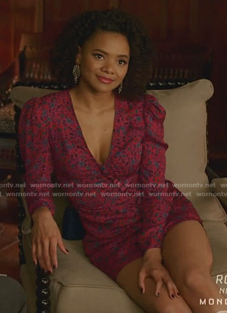 Vanessa's pink floral v-neck mini dress on Dynasty