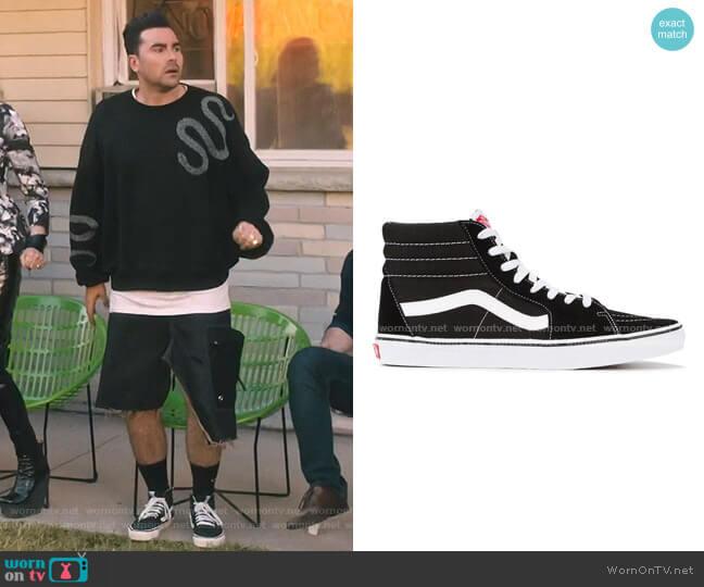 Black Sk8 Hi Sneakers by Vans worn by David Rose (Daniel Levy) on Schitts Creek