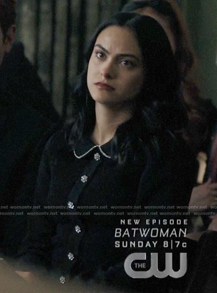 Veronica's black dress with crystal buttons on Riverdale