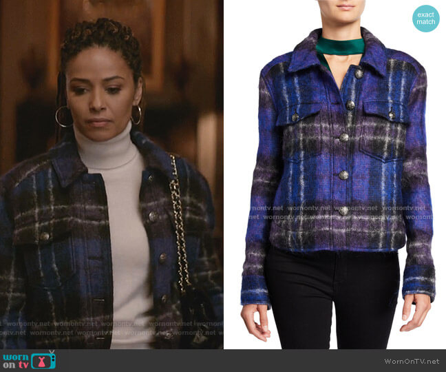 Emmons Plaid Wool-Blend Jacket by Veronica Beard worn by Teri Brooks-Lyon (Meta Golding) on Empire