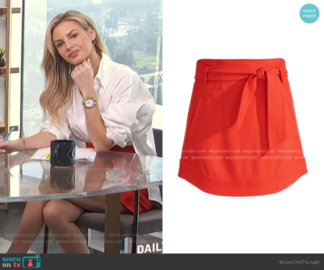 Nyrie Tie Waist Mini Skirt by Veronica Beard worn by Morgan Stewart  on E! News
