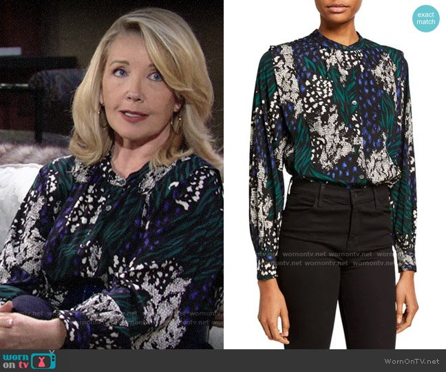 Veronica Beard Buckley Top worn by Nikki Reed Newman (Melody Thomas-Scott) on The Young & the Restless