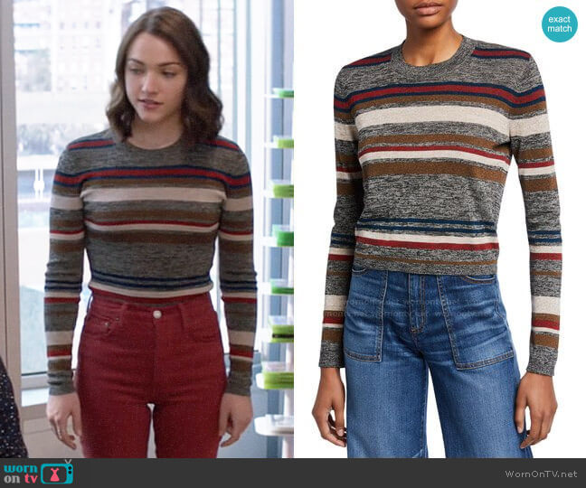 Veronica Beard Jora Cropped Striped Pullover worn by Cara Bloom (Violett Beane) on God Friended Me
