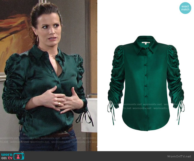 Veronica Beard Lillian Blouse worn by Chelsea Lawson (Melissa Claire Egan) on The Young & the Restless