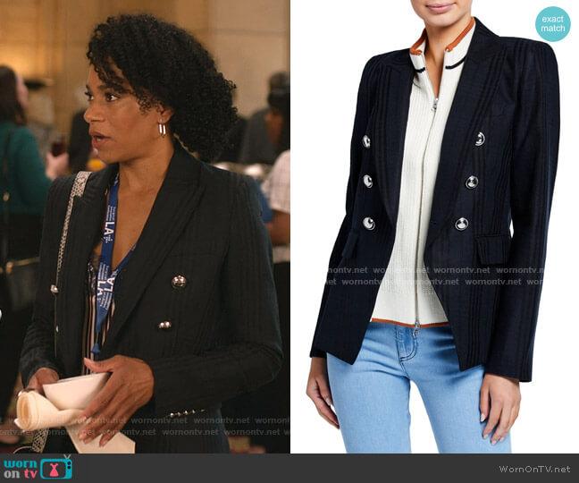 Miller Striped Dickey Jacket by Veronica Beard worn by Maggie Pierce (Kelly McCreary) on Greys Anatomy