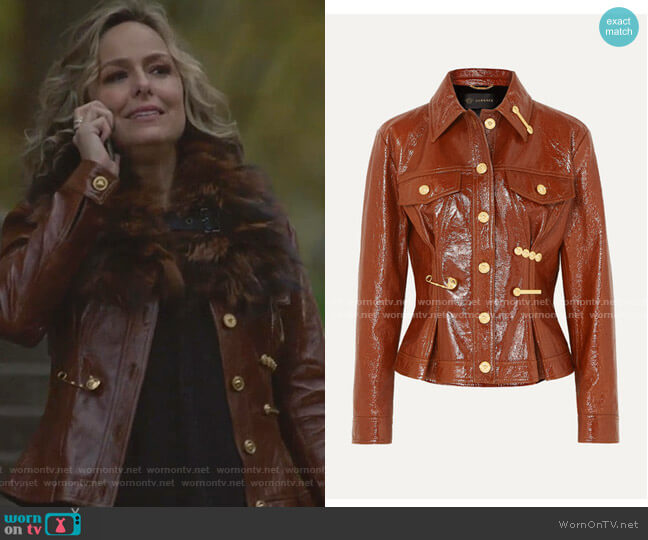 Embellished Textured Patent-Leather Peplum Jacket by Versace worn by Jacqueline (Melora Hardin) on The Bold Type