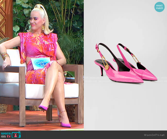 Safety Pin Mid-Heel Pumps by Versace worn by Katy Perry  on American Idol