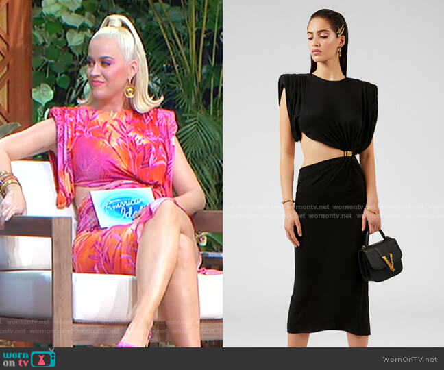 Sculptural Shoulder Cut-Out Dress by Versace worn by Katy Perry  on American Idol
