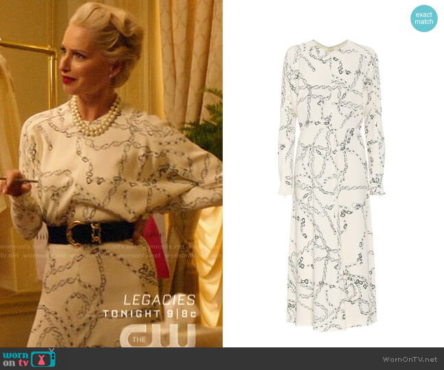 Victoria Beckham Printed cady midi dress worn by  Gloria Grandbilt (Katherine LaNasa) on Katy Keene