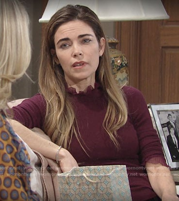 Victoria's burgundy ruffle neck sweater on The Young and the Restless