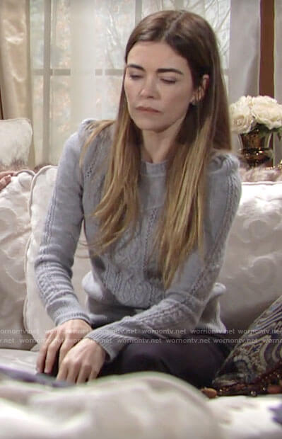 Victoria's grey cable knit sweater on The Young and the Restless