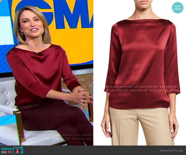 Boatneck Silk Blouse by Vince worn by Amy Robach  on Good Morning America