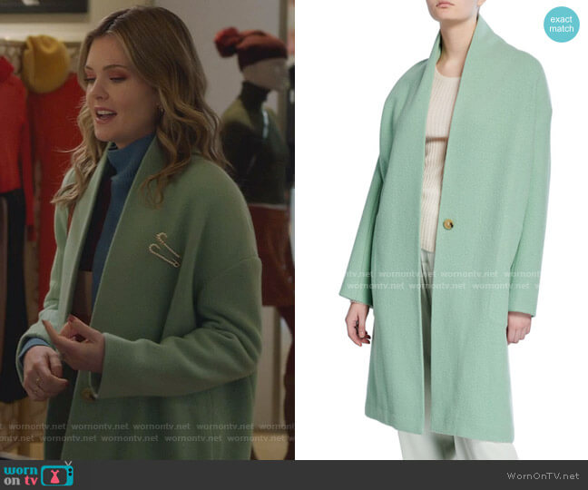 Collarless Long Wool Coat by Vince worn by Sutton (Meghann Fahy) on The Bold Type