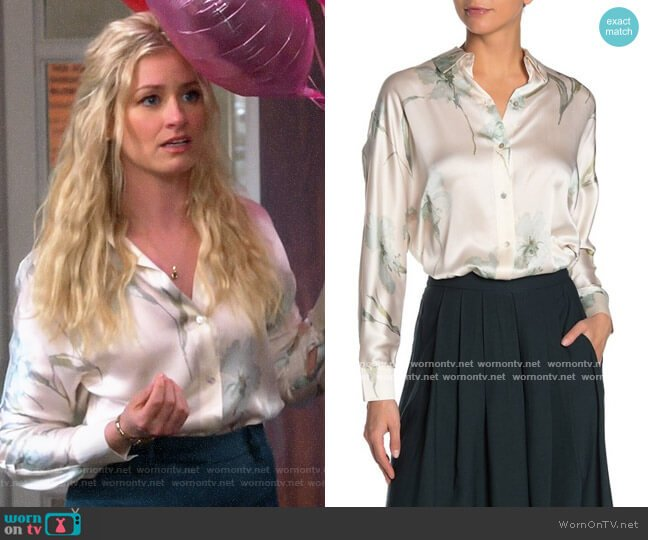 Vince Iris Floral Print Silk Blouse worn by Gemma (Beth Behrs) on The Neighborhood