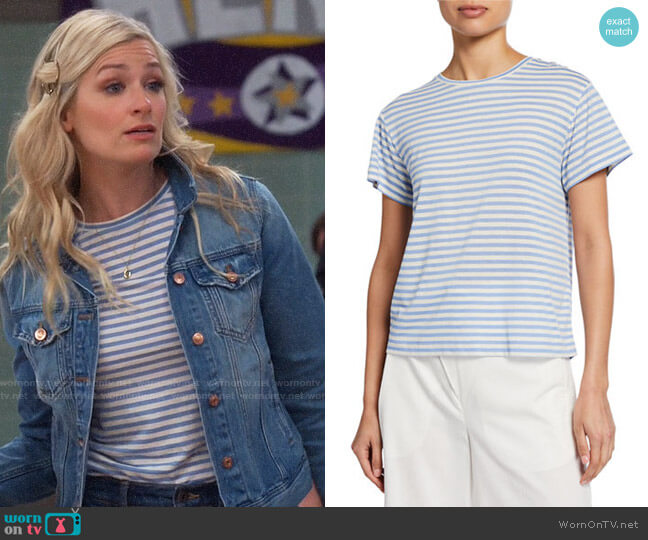 Vince Natural Avalon Stripe T-shirt worn by Gemma (Beth Behrs) on The Neighborhood