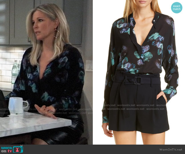 Vince Painted Floral Blouse worn by Carly Corinthos (Laura Wright) on General Hospital