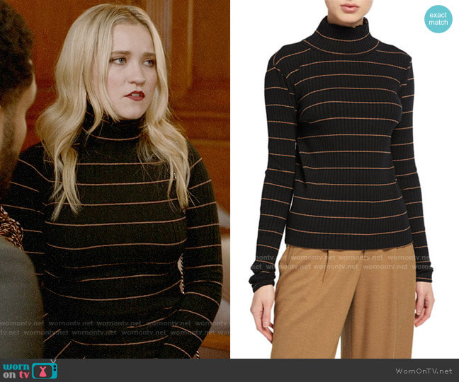 Vince Striped Rib Turtleneck Pullover worn by Roxy Doyle (Emily Osment) on Almost Family