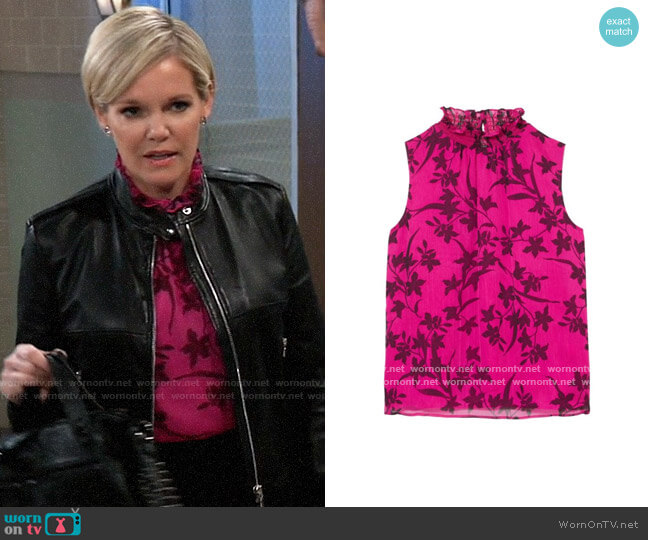 Vince Camuto Floral-print Smocked-neck Blouse worn by Ava Jerome (Maura West) on General Hospital