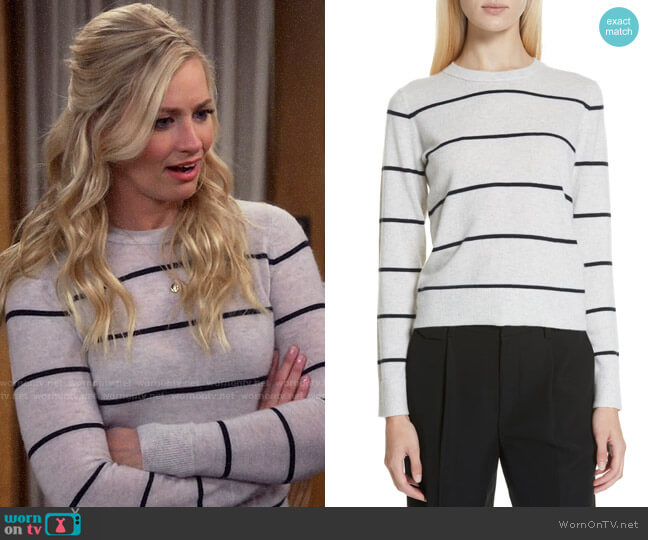 Vince Stripe Cashmere Sweater worn by Gemma (Beth Behrs) on The Neighborhood