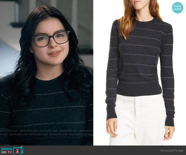 Vince Charcoal Stripe Fitted Cashmere Crewneck Sweater worn by Alex Dunphy (Ariel Winter) on Modern Family