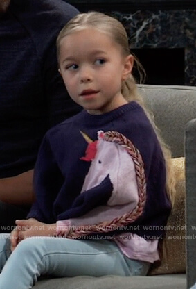 Violet's navy unicorn sweater on General Hospital