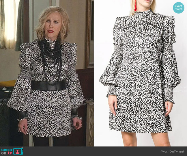 Leopard Print Dress by Wandering worn by Moira Rose (Catherine O'Hara) on Schitts Creek