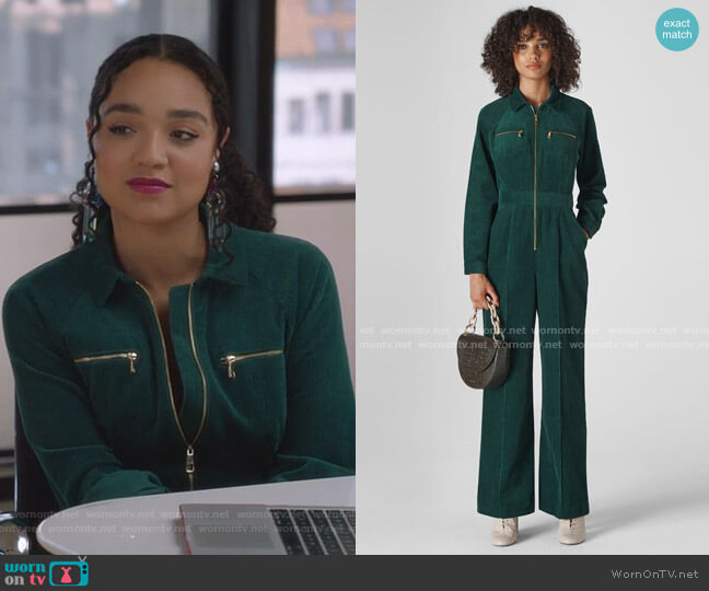 Corduroy Jumpsuit by Whistles worn by Kat Edison (Aisha Dee) on The Bold Type