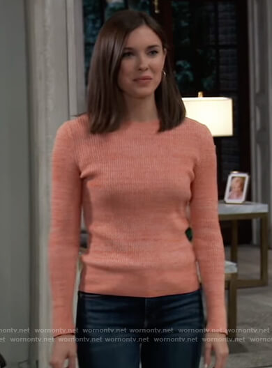 Willow's coral textured sweater on General Hospital