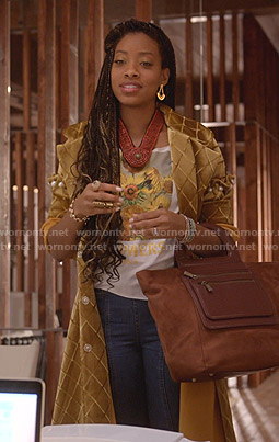 Yana's gold check velvet coat  on Empire