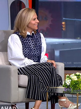 Tory Burch's crochet paneled shirt and striped skirt on GMA Strahan Sara And Keke