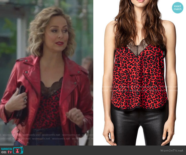 Lace-Trimmed Leopard-Print Cami by Zadig & Voltaire worn by Jacqueline (Melora Hardin) on The Bold Type