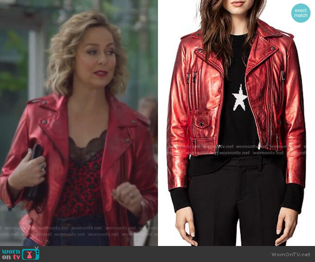 Lenni Metallic Leather Biker Jacket by Zadig & Voltaire worn by Jacqueline (Melora Hardin) on The Bold Type