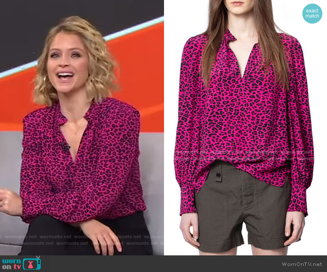 Titus Leopard Print Blouse by Zadig & Voltaire worn by Sara Haines  on Good Morning America