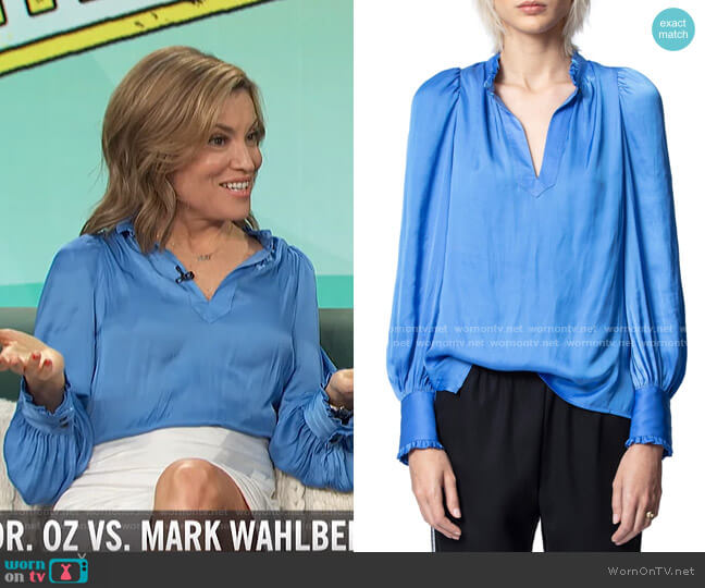 Titu Satin Blouse by Zadig & Voltaire worn by Kit Hoover  on Access Hollywood