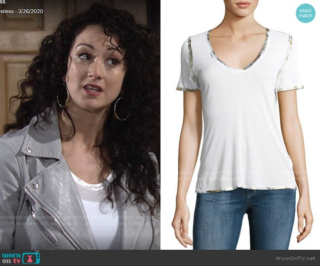 Zadig & Voltaire Tino Foil Tee worn by Alyssa on The Young and the Restless