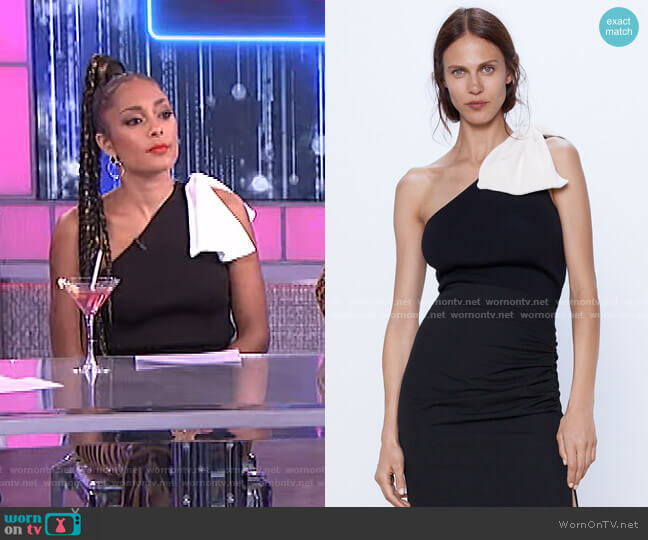 Asymmetrical Top with Bow by Zara worn by Amanda Seales  on The Real