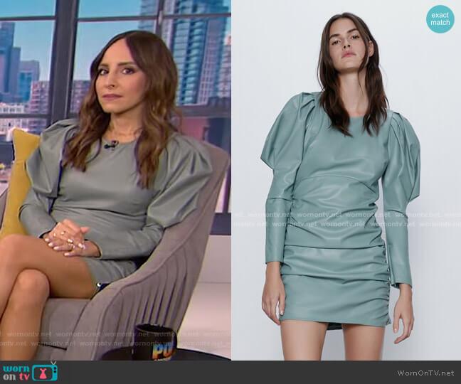 Faux Leather Dress by Zara worn by Lilliana Vazquez  on E! News