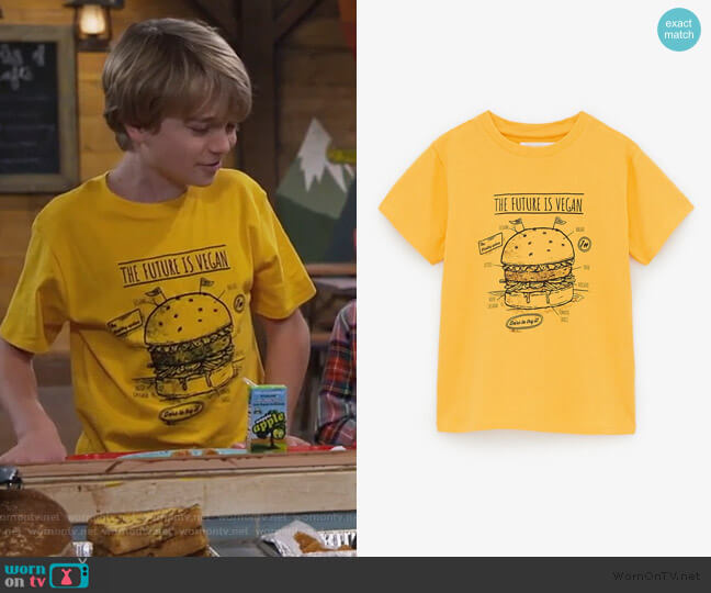 Hamburger T-Shirt by Zara worn by Finn Sawyer (Will Buie Jr) on Bunkd