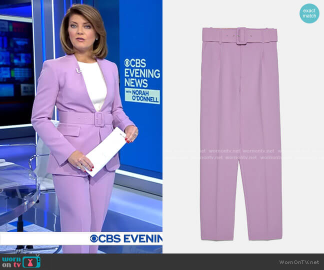 High Waisted Belted Pants by Zara worn by Norah O'Donnell  on CBS Evening News