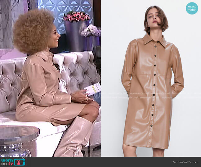 Long Faux Leather Shirt by Zara worn by Amanda Seales  on The Real